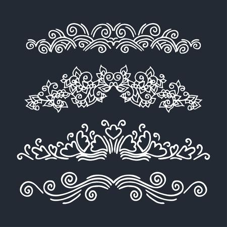 calligraphic design: Set of calligraphic design  elements. Vector illustration