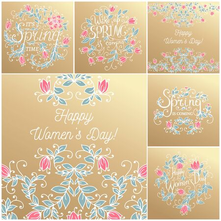 8 march: 8 march hand drawing floral card. Vector illustration