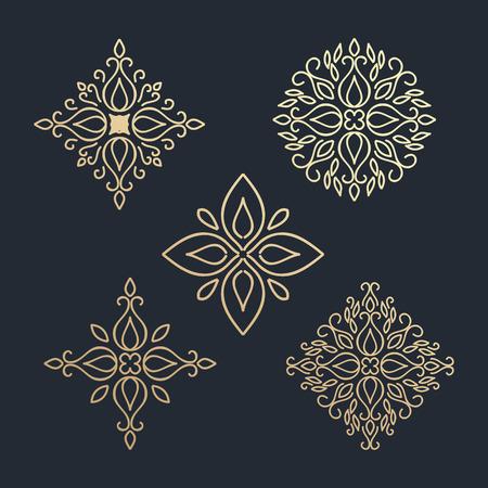 Kalligrafische design element. Boutique merk gouden ontwerp sjabloon. vector illustratie