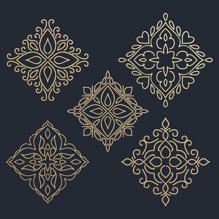 calligraphic design: Calligraphic design element. Boutique brand, golden  design template. Vector illustration Illustration