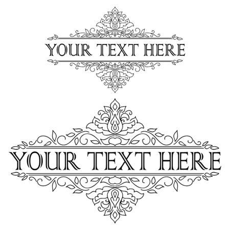 vintage floral frame: Vintage calligraphic template floral frame. Vector illustration Illustration