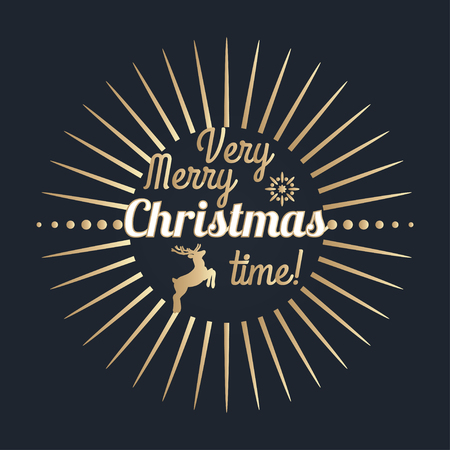 merry time: Very Merry Christmas time lettering. Golden Congratulations card. Vector illustration