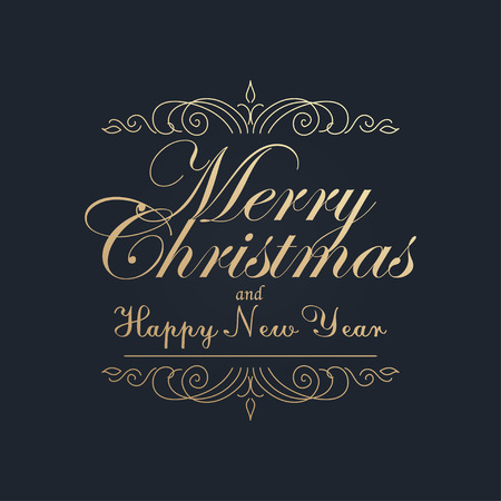 Merry Christmas and Happy New Year. Golden Congratulations card. Vector illustration Stock Illustratie