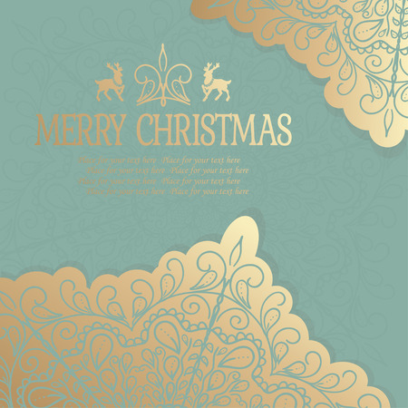 year greetings: Merry Christmas and Happy New Year. Golden Congratulations card. Vector illustration Illustration