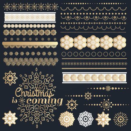 gold ornaments: Big set of Christmas calligraphic design elements. Vector illustration Illustration