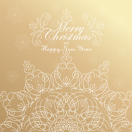 winter snow: Merry Christmas and Happy New Year. Golden Congratulations card. Vector illustration Illustration