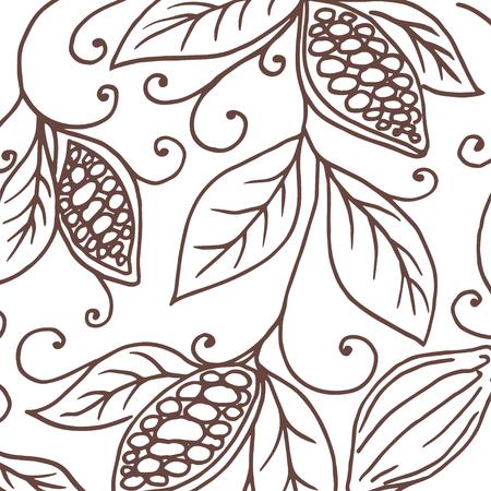 Main dessin fond de fèves de cacao. Vector illustration Banque d'images - 64943023