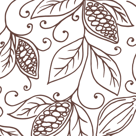 Hand drawing background of cocoa beans. Vector illustration