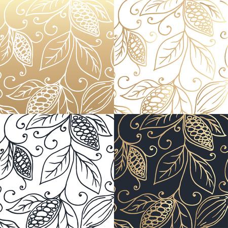 designes gráfico de la mano de los granos de cacao. ilustración vectorial