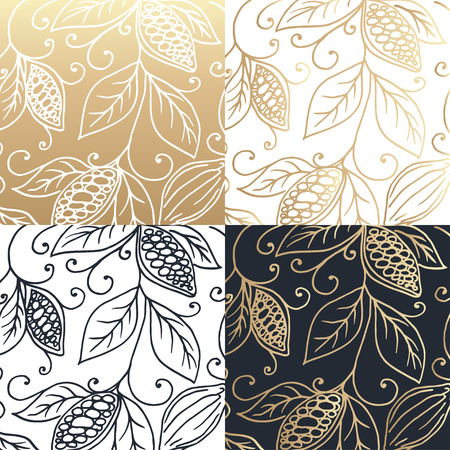 cocoa: Hand drawing  designes of cocoa beans. Vector illustration Illustration