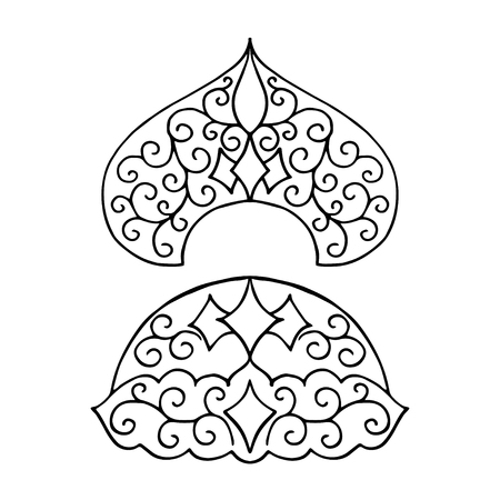kokoshnik: Isolated pattern with floral lace ornament for Christmas collection. Vector illustration