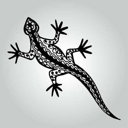 Handdrawing doodle lizard. Wildlife collection. Vector illustration