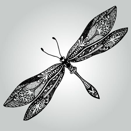 Handdrawing doodle mooie Libel. collectie wilde dieren. vector illustratie