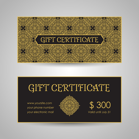 Arabic style gift certificate template Stock Illustratie