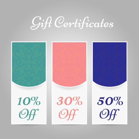 Set of vintage arabic gift certificates. Vector illustration Stock Illustratie