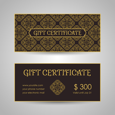 Vintage arabic style gift certificate template. Vector illustration