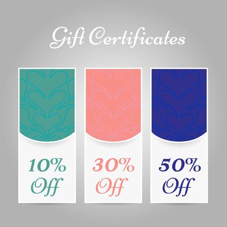 Set of vintage gift certificates