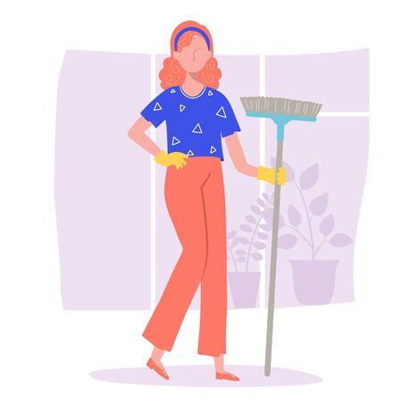 The woman doing the cleaning in the apartment or the office. In the hands of holds a broom.