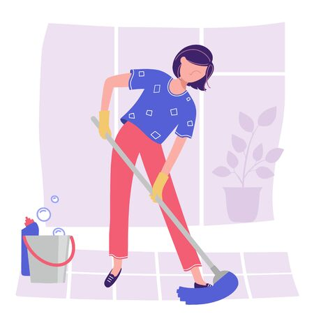 A woman does cleaning by mopping the floor with a broom.