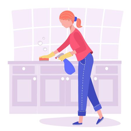 A woman does cleaning, wipes the cabinets in the kitchen. Vektorgrafik