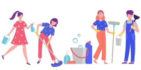 Illustration on the theme of cleaning. People do cleaning at home or in the office. Vectores