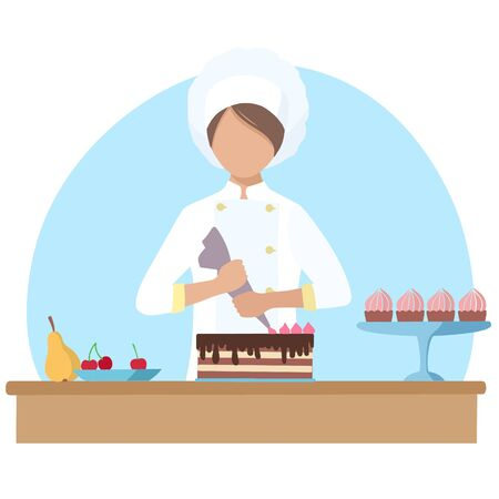 Girl pastry chef bakes and decorates the cake with cream using a cooking syringe. Vector illustration in the flat design style. Ilustracja