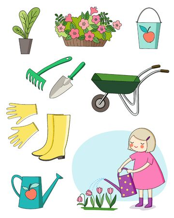 Vector illustration. The collection of pictures on the theme of the garden.