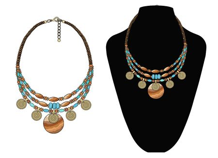Short necklace made of natural stones with pendants. Ilustracje wektorowe
