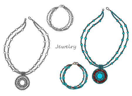 Ethnic women's jewelry made of blue beads, necklace and bracelet. Hand-drawn. Vector 일러스트