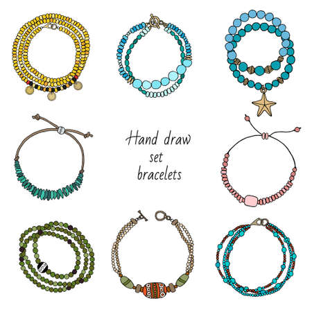 Hand-drawn set of jewelry: bracelets on the hand. Vector