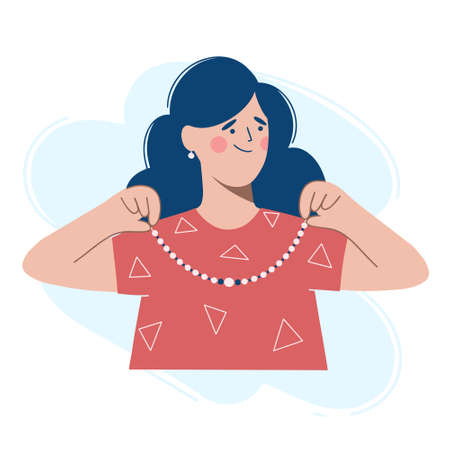 A woman in a red dress puts a necklace around her neck. Vector illustration in the flat design style.