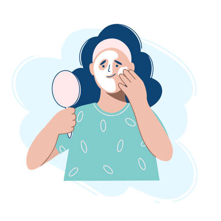 A young woman applying cosmetic mask on face. Vector illustration in the flat design style.