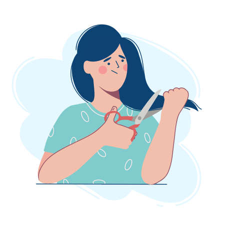 A young woman cuts her damaged long hair. Vector illustration in the flat design style. Çizim