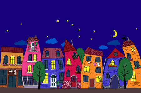 Urban landscape. Starry night, street with bright decorative houses. For postcards, prints, and other design elements. Illustration