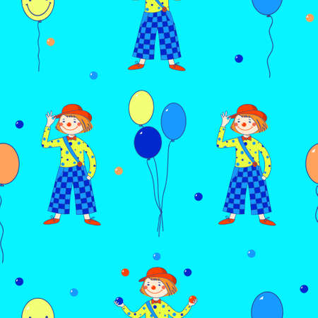 Vector seamless pattern. Circus, clowns and balloons on a turquoise background.