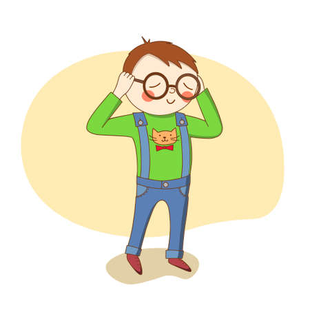A small boy in a green t-shirt wears large glasses. Vector