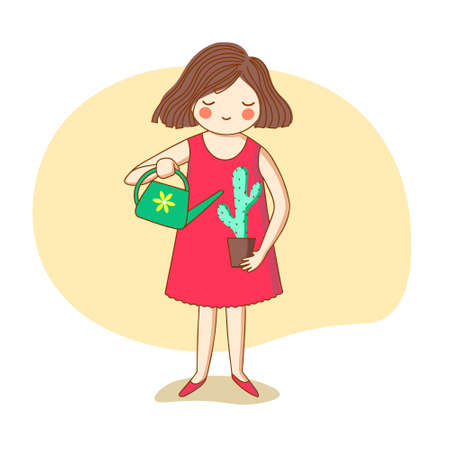 Girl watering from a watering can cactus. Vector