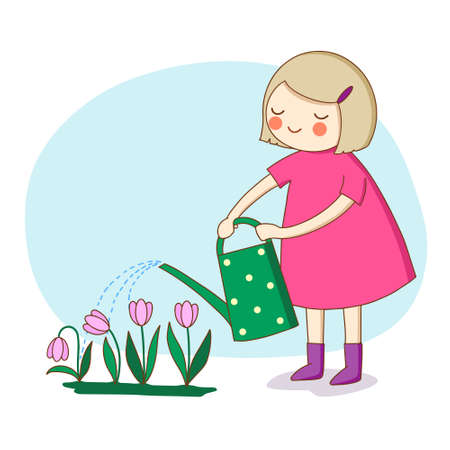 Childhood. A little girl watering flowers from a watering can. Vector