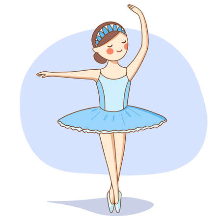 Vector illustration. A ballerina in a blue tutu is dancing on the stage.