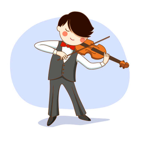 Vector illustration. Concert. A boy on stage plays the violin.