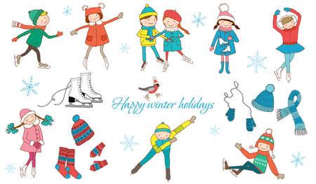 Winter entertainment. Happy children skate. Winter clothes. Ilustração