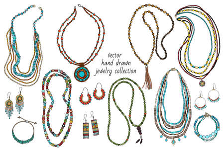 Collection of handmade jewelry: necklace, earrings, bracelets, beads. Hand-drawn.