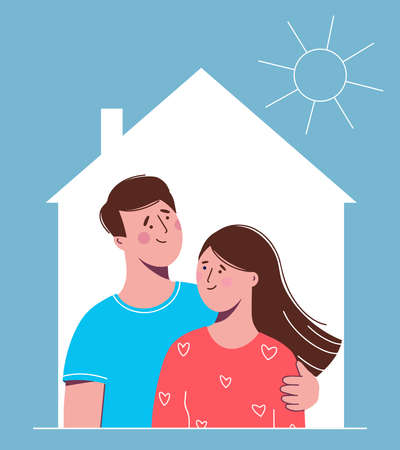 Happy couple in love man and woman in the house. Vector illustration in a flat style for a greeting card or banner.