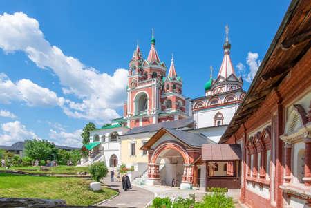 Svenigorod, Moscow Region, Russia. June 24, 2020. Museum, Orthodoxy concept. View of the historic buildings of the Savvino-Storozhevsky Men's Monastery. Horizontal orientation, selective focus.