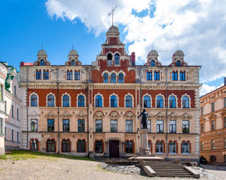 Vyborg, Leningrad region, Russia. - July 27, 2020. The historic old building of the old town hall of Vyborg. Horizontal orientation, selective focus.