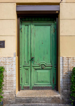 Antique wooden door with decorative elements. Vertical orientation, selective focus, front view. Horizontal orientation, selective focus