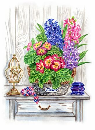 Still life in the style of Provence with a basket of spring flowers, watercolor painting.