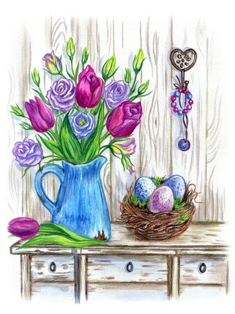 Still in the style of Provence with a bouquet of spring flowers in a jug, eggs in the nest and jewelry. Spring Easter composition, watercolor drawing.