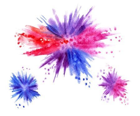 Watercolor explosion, hand drawing. Multicolored paint blots. 版權商用圖片 - 138299896