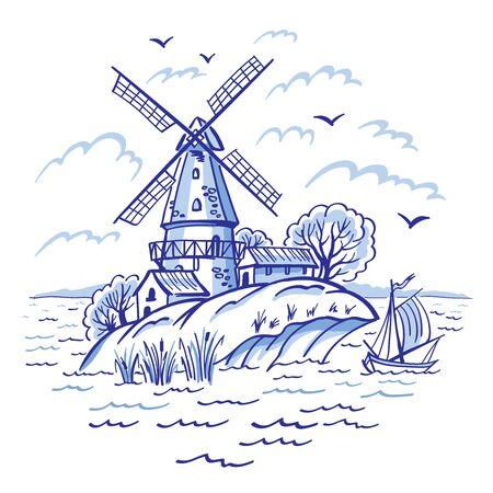 Eiland windmolen en schip, grafisch ontwerp in folklore stijl in blauwe tinten. Vector Illustratie
